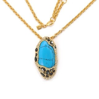 De Buman 18K Yellow Goldplated & Turquoise or 18K Rose Goldplated & Pink Crystal Necklace