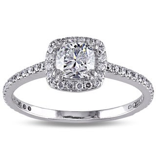 Miadora 14k White Gold 3/4ct TDW Diamond Halo Engagement Ring (F-G, SI1-SI2)