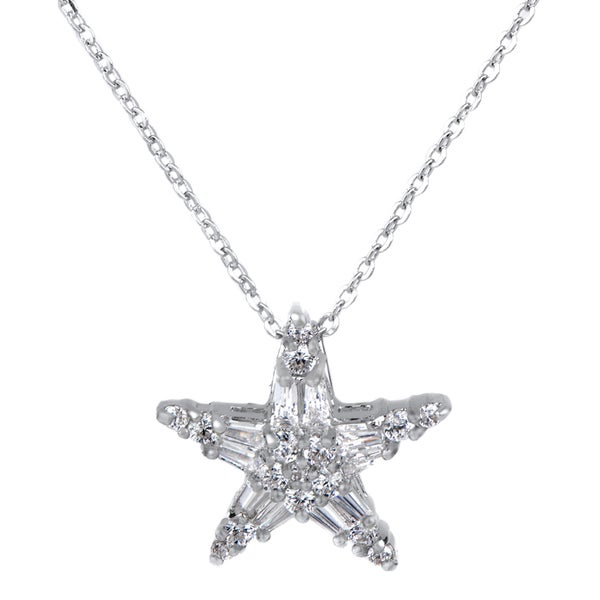 Marquise Cut CZ Star Charm Necklace