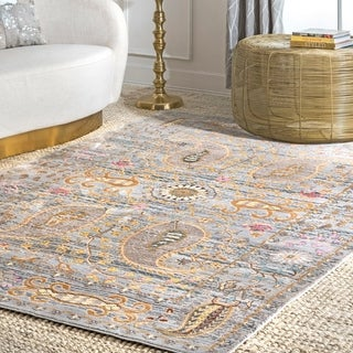 nuLOOM Traditional Vintage Fancy Floral Grey/ Multi Rug (5'3 x 7'7)
