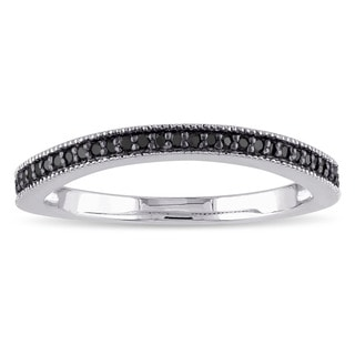 Sterling Silver 1/6ct TDW Black Diamond Wedding Band