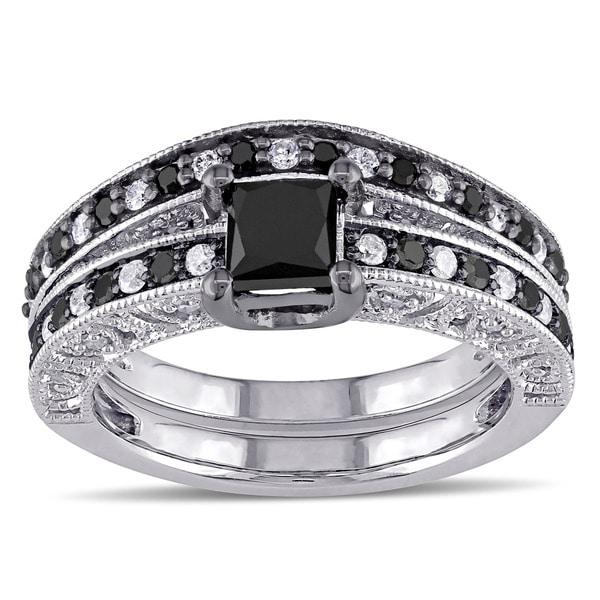 Miadora Sterling Silver 1 1 4ct TDW Black and White Diamond Bridal Ring Set