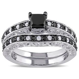 Miadora Sterling Silver 1 1/4ct TDW Black and White Diamond Bridal Ring Set