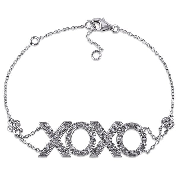 Haylee Jewels Sterling Silver 1/10ct TDW Diamond XOXO Hug and Kiss Charm Bracelet (G-H, I2-I3)
