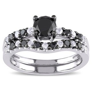 Miadora Silver 1 1/4ct TDW Black and White Diamond Bridal Ring Set (H-I, I2-I3)