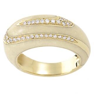 18k Yellow Gold 3/5ct TDW Diamond Enamel Estate Ring (G-H, SI1-SI2) (Size 7.75)
