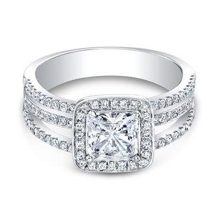 18K White Gold CZ and 3/8ct TDW Diamond Halo Three-row Engagement Ring