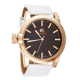 Zunammy Men's Cooper Case White Leather Strap Watch