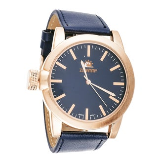 Zunammy Men's Cooper Case Navy Blue Leather Strap Watch