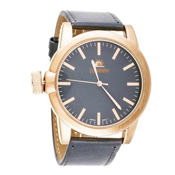 Zunammy Men's Cooper Case Grey Leather Strap Watch