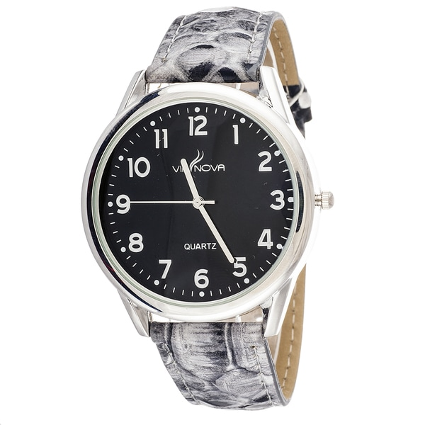 Via Nova Women's Silvertone Case / Grey Snake Skin Strap Watch