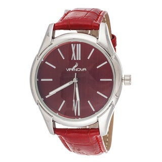 Via Nova Women's Silvertone Case / Red Leather Strap Watch