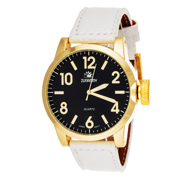 Zunammy Mens's Goldtone Case White Leather Strap Watch