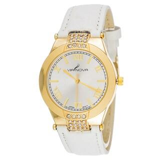 Via Nova Women's Goldtone Case Cubic Zirconia / White Leather Strap CZ Watch