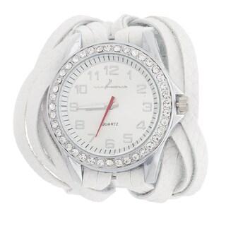 Via Nova Women's Silvertone Cubic Zirconia CZ / White Wavy Leather Strap Watch