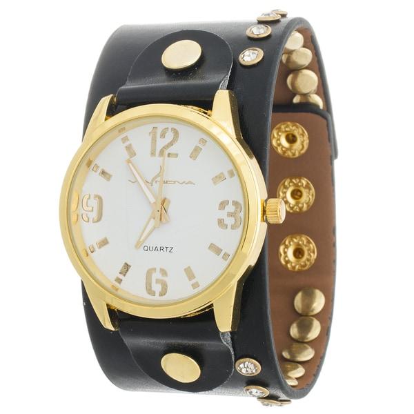 Via Nova Women's Goldtone Case / Black Leather Stud Strap Watch