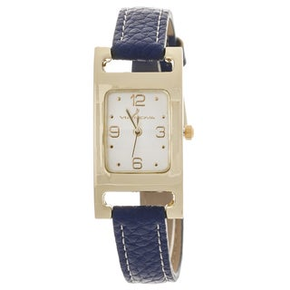 Via Nova Women's Goldtone Case Navy Blue Leather Strap Watch