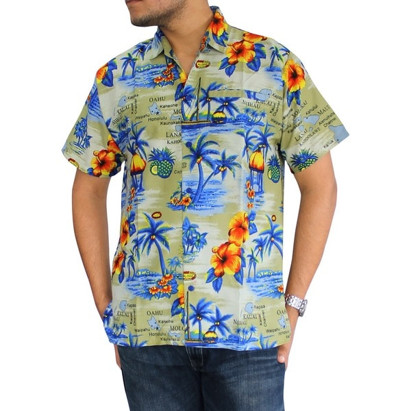 La Leela Men's Hawaiian Paradise Print Button-down Shirt Beach Swim Camp