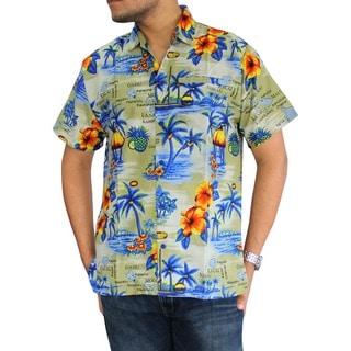 La Leela Men's Hawaiian Paradise Print Button-down Shirt Beach Swim Camp