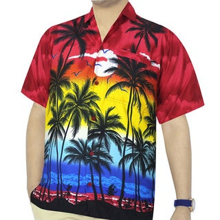 La Leela Men's Bright Red Palm Tree Printed Button-down Shirt Beach Swim Camp