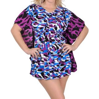 La Leela Women's Purple Animal Skin Printed Beach Cover-up