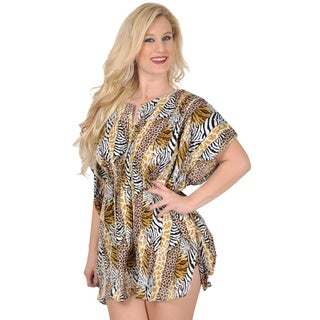 La Leela Women's Animal Print Beach Cover-up Kaftan