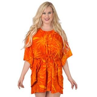 La Leela Women's Orange Self Printed Beach Cover-up Kaftan