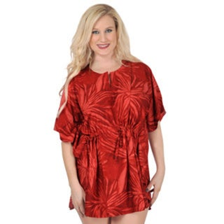 La Leela Women's Red Self Printed Beach Cover-up Kaftan