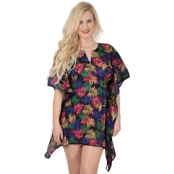 La Leela SOFT Cotton Beachwear Fern Party Bikini Swimsuit Cover up Dress Black