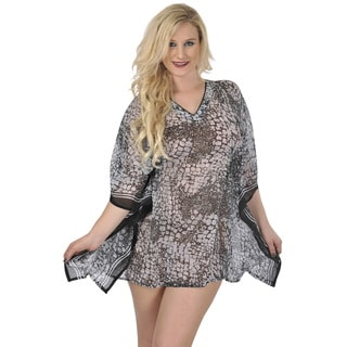La Leela Women's Grey Beach Swim Cover-up Kaftan Tunic