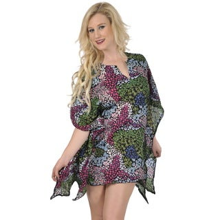 La Leela Women's Swirl Print Beach Cover-up Kaftan Tunic