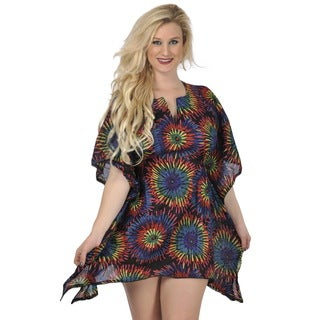 La Leela Women's Multicolored Cotton Beach Cover-up Kaftan Tunic