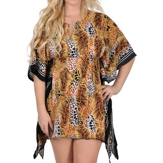 La Leela Women's Animal Print Beach Swim Kaftan