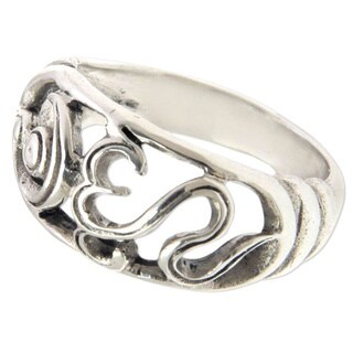 Handcrafted Sterling Silver 'Sukawati Om Kara' Ring (Indonesia)