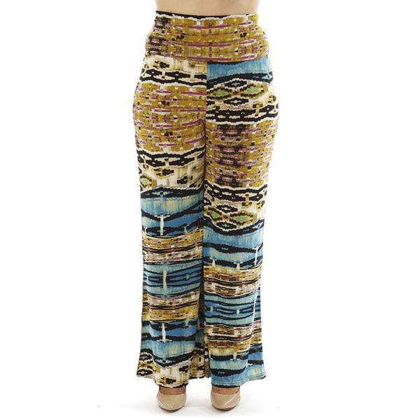 Golden Black Women's Plus Size High-waist Foldover Palazzo Pants