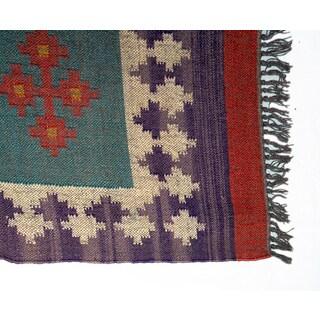 Timbergirl Indo Multi Wool Jute Kilim Area Rug (2' x 8')