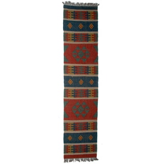 Timbergirl Indo Red Blue Wool Jute Kilim Area Rug (2' x 8')