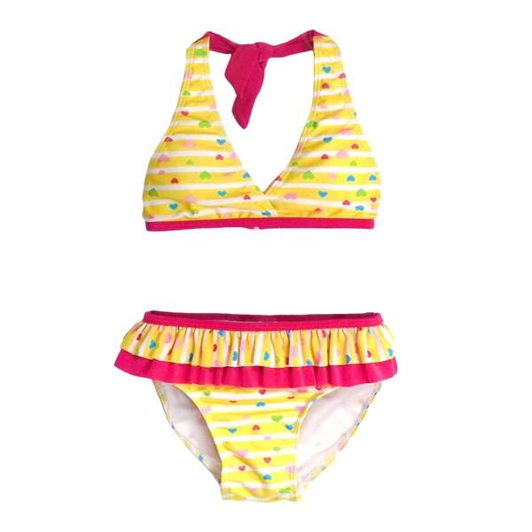 Jump'N Splash Girl's Yellow Hearts Halter Bikini Swimsuit