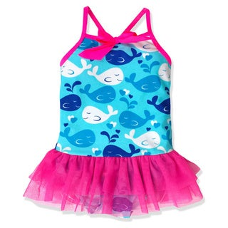 Jump'N Splash Small Girls Blue Whale Tutu One-Piece Swimsuit