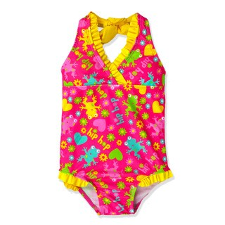 Jump'N Splash Girl's Frog Halter One Piece Swimsuit