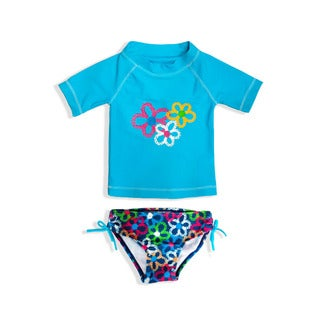 Jump'N Splash Girl's Blue Flower Rash Guard Set