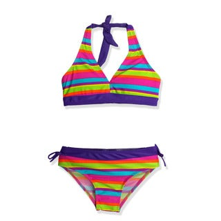 Jump'N Splash Girl's Purple Rainbow Stripes Halter Bikini Swimsuit