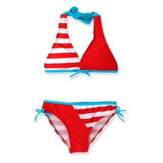 Jump'N Splash Girl's Red/White Stripe Bikini Swimsuit