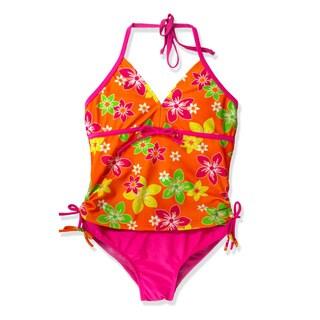 Jump'N Splash Girl's Orange Floral Tankini Swimsuit