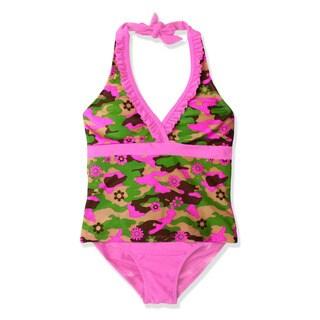 Jump'N Splash Girl's Camo Flower Tankini Swimsuit