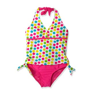 Jump'N Splash Girl's Multicolor Polka Dot Tankini Swimsuit