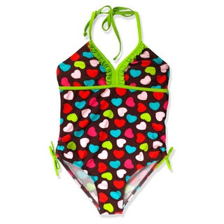 Jump'N Splash Girl's Brown Hearts One Piece Swimsuit