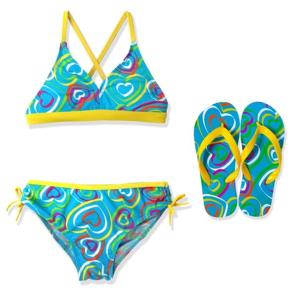 Jump'N Splash Girl's Turquoise Heart Crossback Bikini Swimsuit