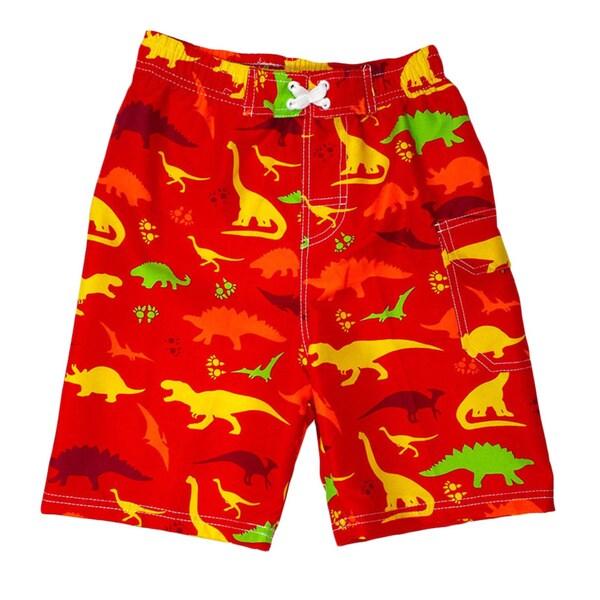 Jump'N Splash Boy's Red Dinosaur Swim Trunks