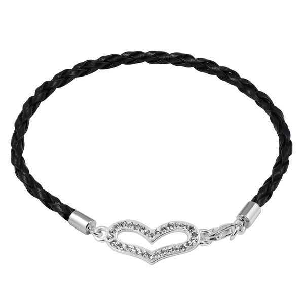 Sterling Silver Clear Crystal Heart Leather Bracelet